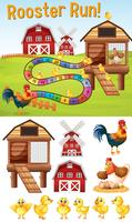 Boardgame template with chickens on farmyard