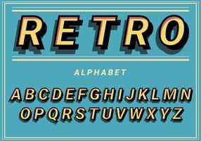 Alphabet rétro sur fond bleu