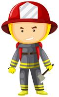 Fire fighter in protection suit