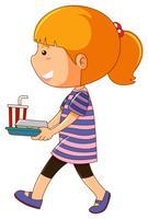 Bambina che tiene il vassoio di cibo