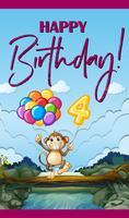 Scheda di buon compleanno con scimmia e palloncini