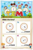 Hoja de trabajo de matemáticas, capítulo de tiempo con foto