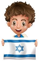 Happy boy with flag of Israel