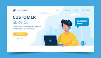 Customer service landing page. Man with headphones and microphone with laptop. Concept illustration for call center.