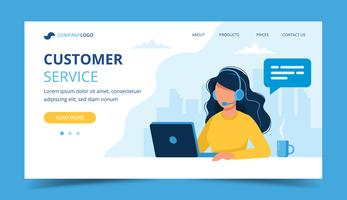 Customer service landing page. Woman with headphones and microphone with laptop. Concept illustration for call center.