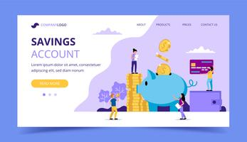 Saving money landing page - illustration with small people doing various tasks, piggy bank, wallet, credit card.