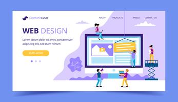 Web design landing page - illustration with small people doing various tasks, big monitor with a website.