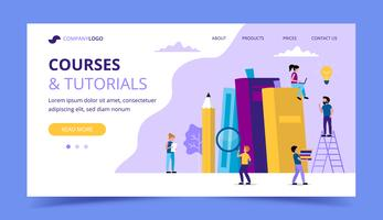 Courses and tutorials, learning landing page with books, pencil, small people characters doing various tasks. vector