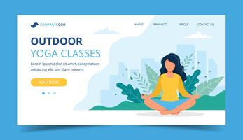 Woman doing yoga in the park landing page, concept illustration for healthy lifestyle, yoga classes, exercising. vector