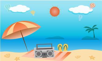 Vettore del concetto di attività della spiaggia di estate, benvenuto in estate di festa