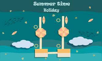 Vector van het concept van de het strandactiviteit van de zomer, onthaal aan de vakantiezomer
