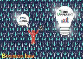Pense diferente (ideia de negócio) (O empresário tem uma ideia diferente, mas outro empresário não tem ideia)