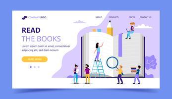 Het lezen van de bestemmingspagina, kleine personages rond een groot boek. Conceptenillustratie voor onderwijs, boeken