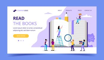 Reading landing page, small people characters around big book. Concept illustration for education, books