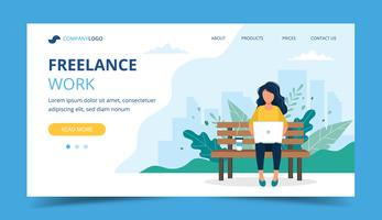 Freelance work page template. Woman working with laptop in the park. Illustration for freelancing, remote work.