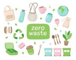 Illustrazione di concetto di spreco zero con diversi elementi. Stile di vita sostenibile, concetto ecologico.