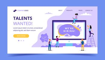 Hiring landing page. Concept illustrations for human resources, hiring process, vacancies, recruitment department.