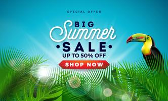 Summer Sale Design with Exotic Palm Leaves and Touvan Bird on Blue Background. Tropical Vector Special Offer Illustration