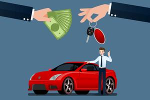 De autohandelaars wisselen, verkopen, huren tussen een auto en de creditcard van de klant. Vector illustratie ontwerp.