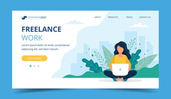 Freelance work page template. Woman working with laptop in the park. Illustration for freelancing, remote work, business