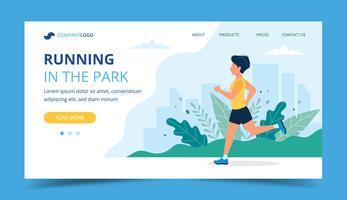 Ejecutando plantilla de página de destino. Hombre corriendo en el parque. Ilustración para maratón, carrera urbana, entrenamiento, ejercicio cardiovascular.