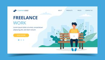 Freelance work page template. Man working with laptop in the park. Illustration for freelancing, remote work, business.