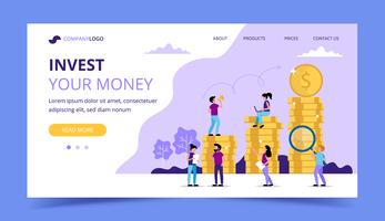 Investing landing page - illustration with coins, small people characters. Concept vector illustration