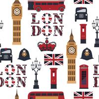 Vector seamless british pattern. London symbols and landmarks