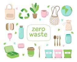 Abfallfreie Konzeptillustration mit verschiedenen Elementen. Nachhaltiger Lebensstil, ökologisches Konzept.