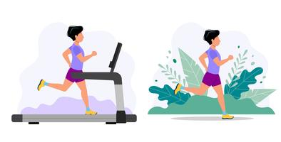 Man running on the treadmill and in the park. Concept illustration for jogging, healthy lifestyle, exercising.