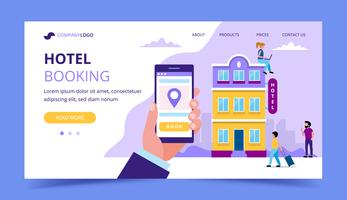 Hotel booking landing page template - illustration with small people doing various tasks.