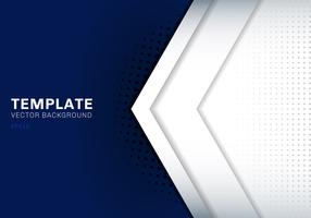 Template white arrow overlapping with shadow on dark blue background space for text and message artwork design technology concept
