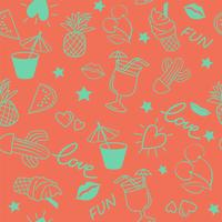 Seamless summer pattern on pink background