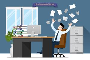 Stress da uomo d'affari alla scrivania da un sacco di lavoro. Progettazione piana dell'illustrazione di vettore del carattere degli impiegati con la pila di carta che lavora molto duro con il personal computer.