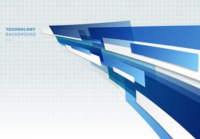 Abstract blue and white shiny geometric shapes overlapping moving technology futuristic style presentation perspective background with copy space.