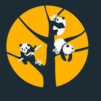 Pandas auf einem Baum vektor