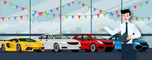 Gelukkige zakenman, verkoper staan en houden van een klembord voor groep luxeauto die parkeren in grote showroom in de stad.
