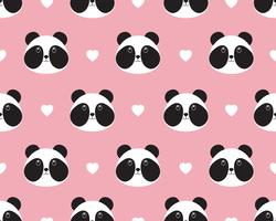Seamless pattern of cute panda face with heart on sweet background