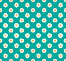 Seamless pattern of daisy flower on a pastel green background - Vector illustration