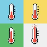 Gebroken thermometer (oververhitting) (plat ontwerp)