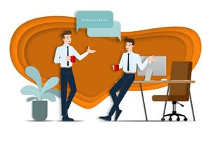 Dos hombres de negocios discutiendo entre sí. El empleado habla con el equipo sobre ideas de negocios o sobre organización comercial durante la hora del café.