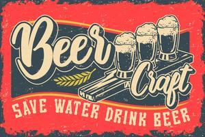 Illustration vectorielle de couleur avec de la bière et des lettres