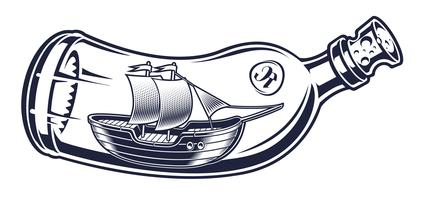 Vector illustration of a bottle with a ship