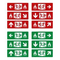 Vastgestelde Brand Nooduitgang Evacuatie Teken Vectormalplaatje Illustratie Ontwerp. Vector EPS 10.