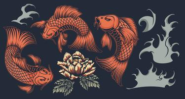 Set with koi carp on the Japanese theme