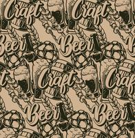 Seamless pattern with beer elements