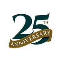 25 anos de projeto da ilustração do molde do vetor do aniversário. Vetor eps 10