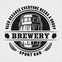 Vector beer barrel badge on white background