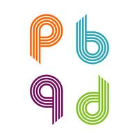 P B Q D Letter Lines Logo Template Illustration Design. Vector EPS 10.