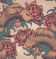 Seamless pattern on the Japanese theme vector